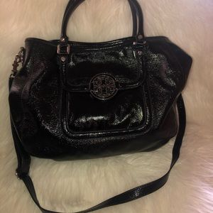 BLACK LEATHER TORY BURCH TOTE BAG